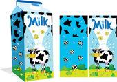 Paquete de la leche con una vaca — Vector de stock