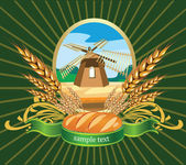 Vector illustration of bread wheat Label — Stock Vector