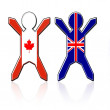 Stock Photo: Flag guys - Canadand Great Britain