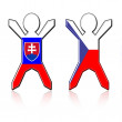 Flag guys - Slovakia and Czech Republic — Stock Photo