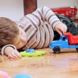 Little Boy Playing with Toy Car — Stock Photo