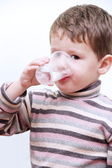 Little Child Boy Drinking Pure Water — Stock Photo