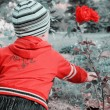 Retro Picture of Boy Picking Rose — Stock Photo