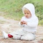 Baby Boy Sitting on the Ground — Stock Photo