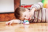 Little Boy Playing with Toy Helicopter — Stock Photo