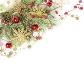 Christmas Border with Golden Snowflakes — Stock Photo