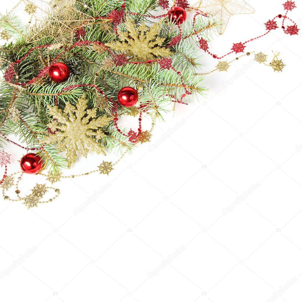 圣诞节装饰边框与雪花白上