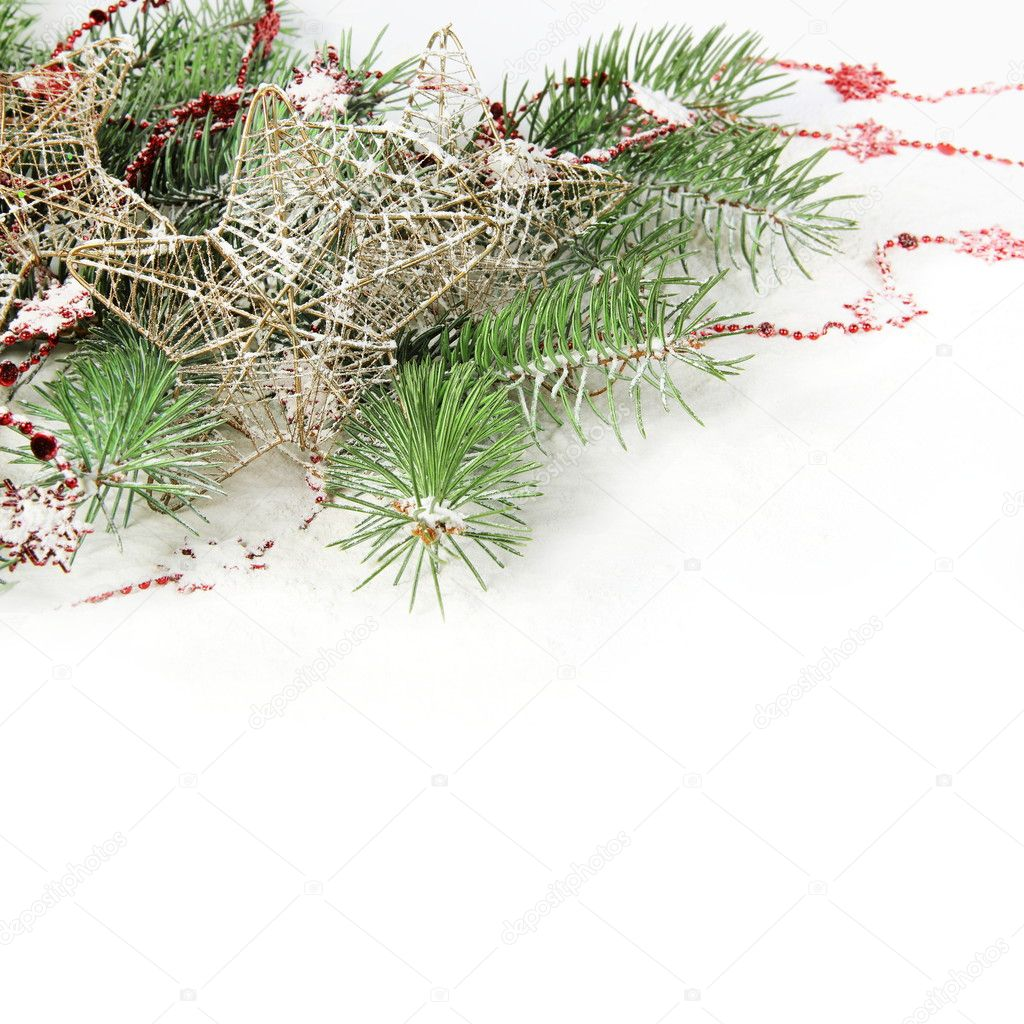 Christmas Border with Decorative Stars under Snow — Stock Photo #7642821