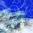 Christmas Background with Burning Candle - Stock Photo