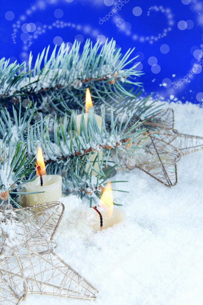 Christmas Background with Burning Candles and Stars — Stock Photo #7813164