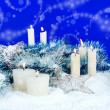 Royalty-Free Stock Photo: Christmas Festive Background with Candles