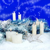 Christmas Festive Background with Candles — Stock Photo