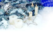 Christmas Border with Candles — Stock Photo