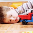 Little Boy Playing with Toy Car Close — Stock Photo