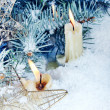 Christmas Still Life with Burning Candles - Foto Stock