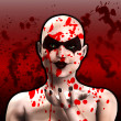 Постер, плакат: Blood Covered Psycho Female Clown Blowing A Kiss