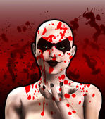 血涵盖变态女小丑吹一个吻 — 图库照片