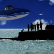 Stock Photo: UFO Over Coast With In Foreground