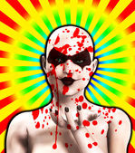 Blood Covered Psycho Female Clown Blowing A Kiss — Stock Photo