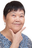 Asia woman hand make correct sign - tick — Stock Photo