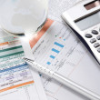 Financial charts and graphs on the table — Stock Photo
