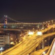 Night scenes of highway Bridge in Hong Kong. — Stock Photo