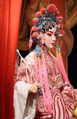Chinese opera dummy and red cloth as text space ,it is a toy,not — Stock Photo