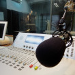 Mic in front of the control panel in broadcasting studio — Stock Photo