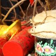 Stock Photo: Firecrackers and Chinese Traditional Wooden Drum