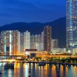 Twilight blue hour at hongkong downtown. — Stock Photo