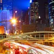 Traffic night in city — Stock Photo