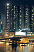 Night shot of a city skyline. — Stock Photo