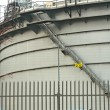 Gas tanks in the industrial estate, suspension energy for transp - Stock Photo