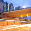 Traffic downtown area at night, hongkong — Stock Photo