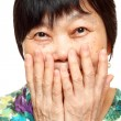 Royalty-Free Stock Photo: Asian woman use hand cover her mouth