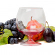 Ripe fruit and red wine — Stock Photo