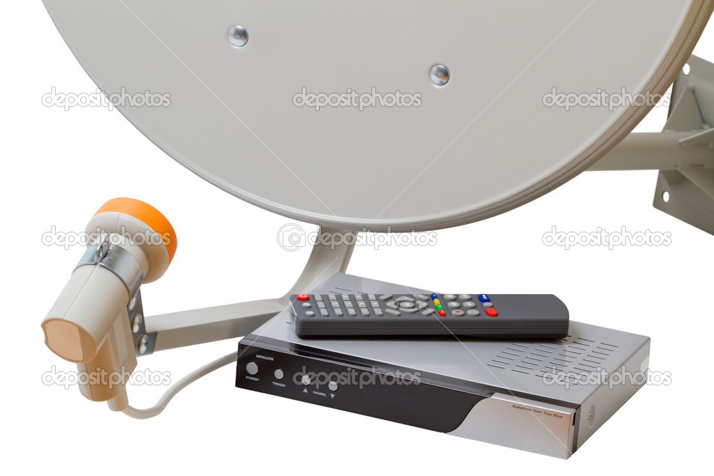 Set of satellite TV equipment isolated on a white background — Stock Photo #7571030