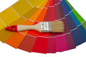 Color card and brush — Stock Photo