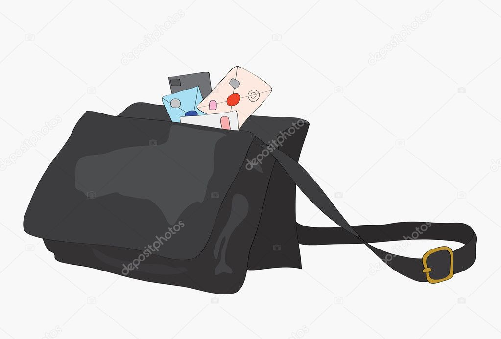 Bag of the postman with letters. — Stock Vector #6903813