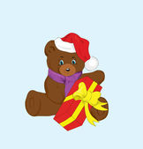 Toy bear with a gift for new year. — Stock Vector