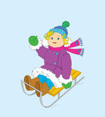 The cheerful girl on a sledge. — Stock Vector