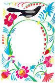 Blumenornament mit einem Vogel picken eine Eberesche. — Stockfoto