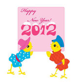 Two chickens with a card for new year. — Stock Vector