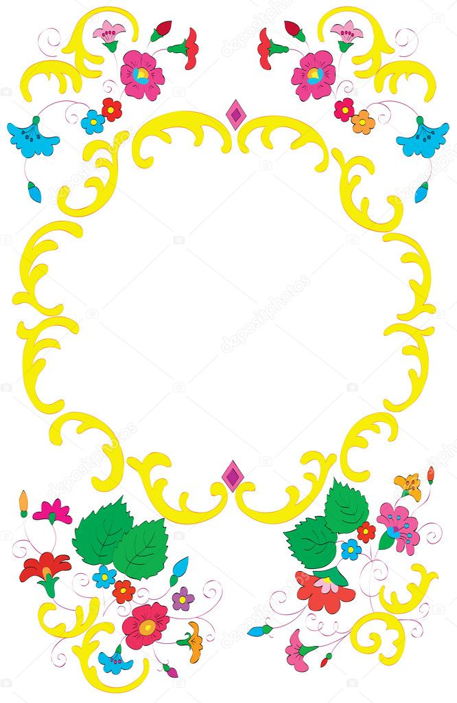 Framework. A beautiful flower ornament. — Stock Vector #7546532