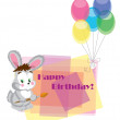 Card on birthday with a hare. — Stock Vector