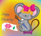 The mouse draws a card on birthday. — Stock Vector