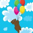 Bear on balls in clouds. — Stock Vector #7631471
