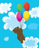Bear on balls in clouds. — Stock Vector