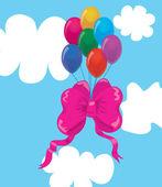 Balónky s lukem v oblacích. — Stock vektor