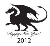 Silhouette of a black dragon of 2012. — Stock Vector